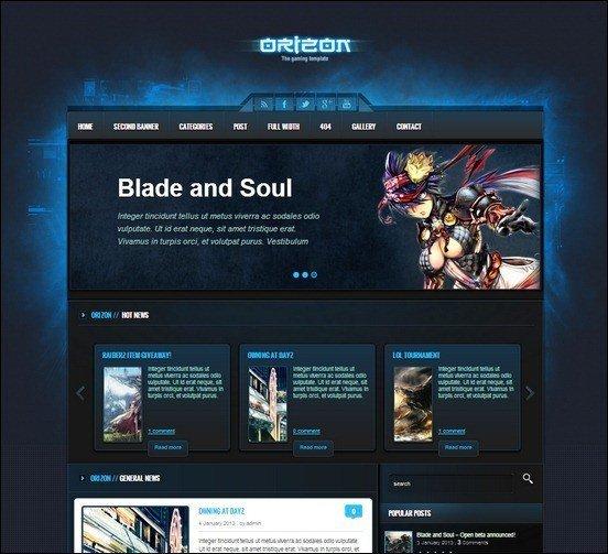orizon-the-gaming-tempate-wp-version