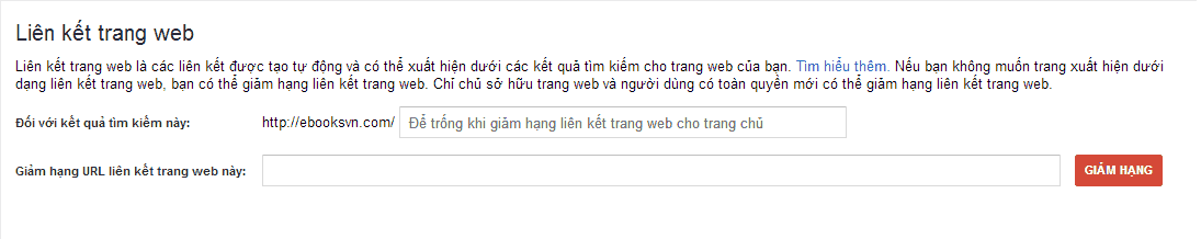 giam-hang-lien-ket-tren-google-sitelinks