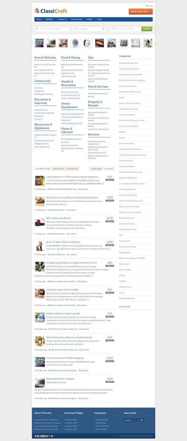classicraft-classified-ads-wordpress-theme