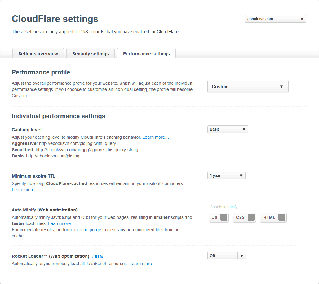 cloudflare-performance-settings