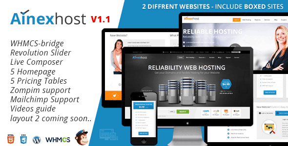 Ainex-Host-WHMCS-WordPress-Integration-Theme