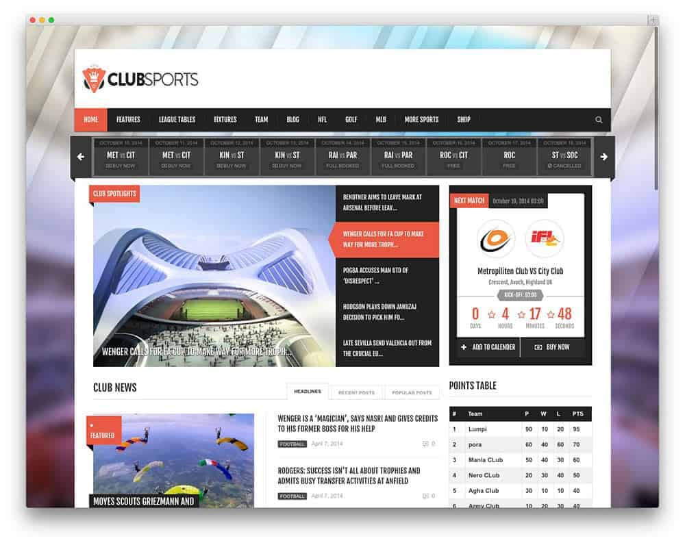clubsports-template