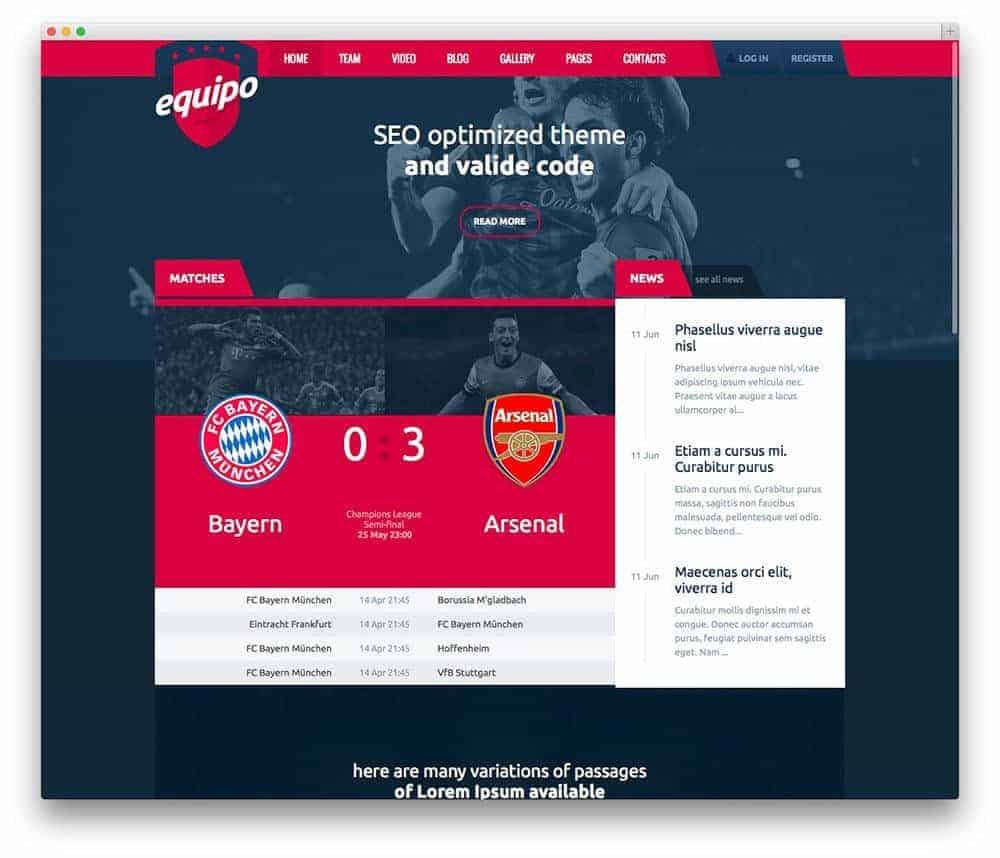 Equipo-sports-theme