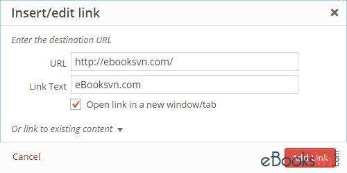 khung-insert-edit-link-mac-dinh-cua-wordpress
