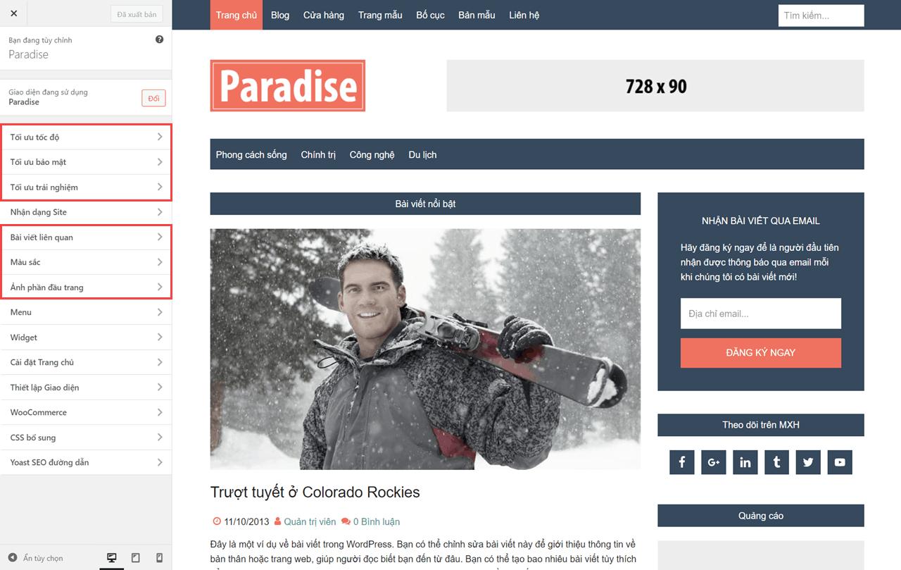 tinh-nang-cua-theme-paradise-trong-customizer