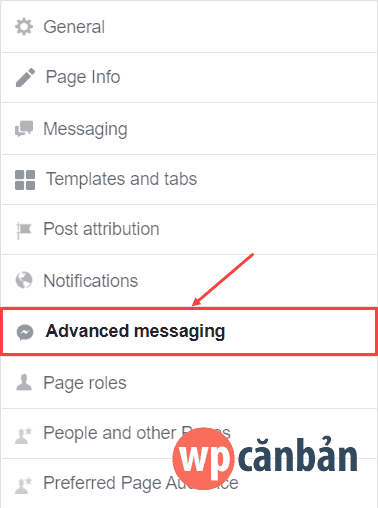 click-vao-advanced-messaging-trong-page-settings