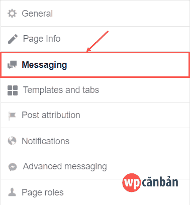 click-vao-messaging-trong-page-settings